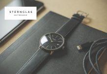 Sternglas Uhr schwarz